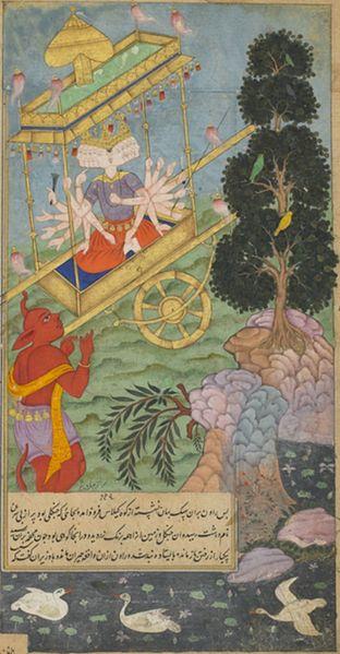 312px-Ravana seizes the chariot Puspaka from Kuvera