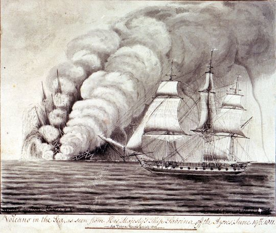 The Sabrina eruption off the Azores in 1811