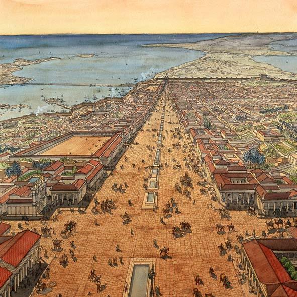 HISTOIRE ABRÉGÉE DE L'ÉGLISE - PAR M. LHOMOND – France - année 1818 (avec images et cartes) Vue_reconstitu%C3%A9e_dAlexandrie_au_2e_s._av._J.-C