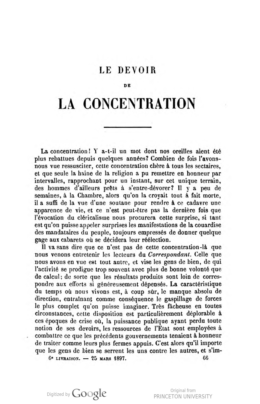 Le Devoir de la concentration, par Albert de Lapparent